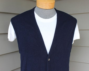 vintage 60's - 70's -Puritan 'Aquaknit'- Men's Cardigan sweater vest. Navy Blue - 100% Lambswool.  Large - Extra Large - 44