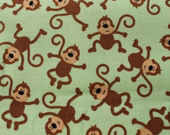 Mint Green with Small Monkeys on Cotton Fabric designed by Riley. Crib Sheets, Pillowcases, baby quilts, bibs, Embroidery Hoop Wall Art,
