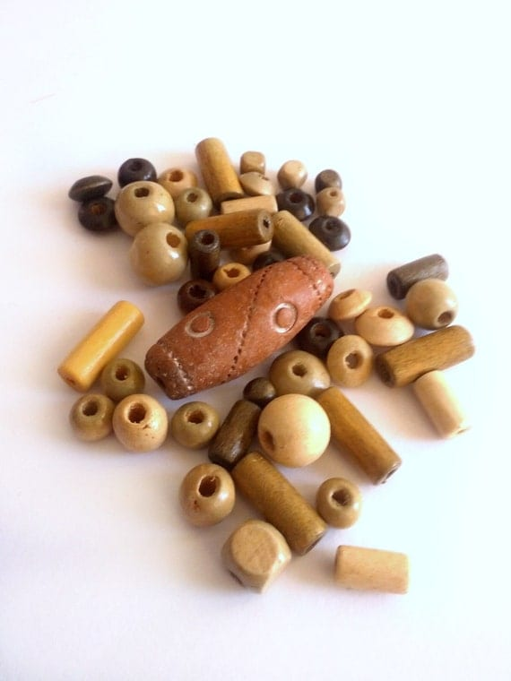 Wood bead lot, wood beads, bead mix - many shapes and sizes - supplies, jewelry supplies
