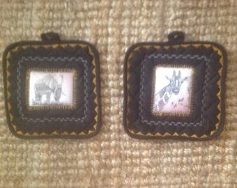Elephant And Giraffe ArtTransfer Potholder Set