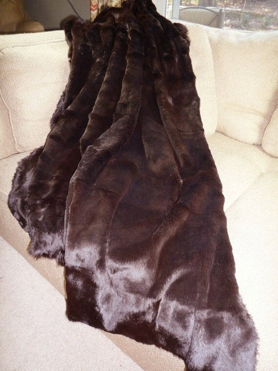 Real Sheared brown Rabbit Fur Throw new  made in usa authentic