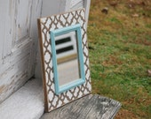 Brown and off white morrocan 8 x 10 mirror with blue trim