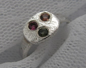 Tourmaline ring. Sterling silver ring. Silver ring. Tourmaline silver ring. Tri-color tourmaline ring (sr-9872-1236) tourmaline jewelry