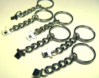 "6 Key Chain Blanks For 1"" Button Badges Stainless Steel New key rings - keychain"