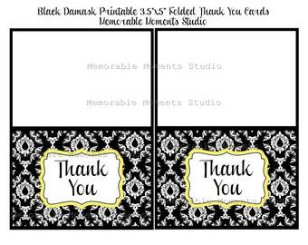 INSTANT DOWNLOAD - Printable 3.5x5 Folded Thank You Cards - Elegant Black Damask Collection - Memorable Moments Studio