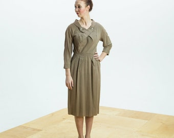 1940s Dress/ 40s Brown Day Dress with Rhinestone Collar