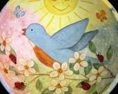 Hand Painted Wooden Bowl with Bluebird, Apple Blossoms, Ladybugs, Butterflies, Sun, Easter Decoration, Potpourri bowl, OOAK Folk Art