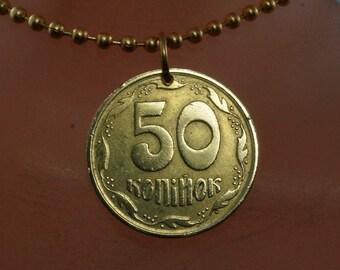UKRAINE  necklace pendant -  Ukrainian coin jewelry -  50 Kopiyka -   Ukrainian 1992  No.002014