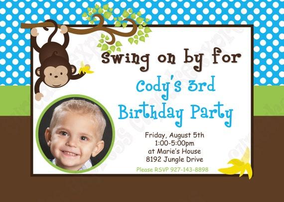 DIY Monkey Photo  Birthday Party  PRINTABLE Invitation 5x7 4x6 blue green brown BOY