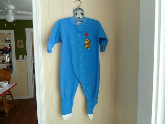 Vintage Blue Footed Pajamas With Disney Winnie The Pooh