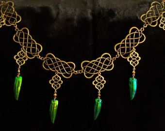 Celtic Beetle Wing Necklace