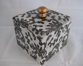 Black Lace Trinket Box wooden handmade