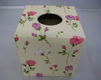 Pink Rose Tissue Box Cover