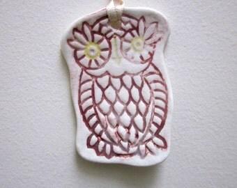 Russet Owl Ceramic Textured Ornament