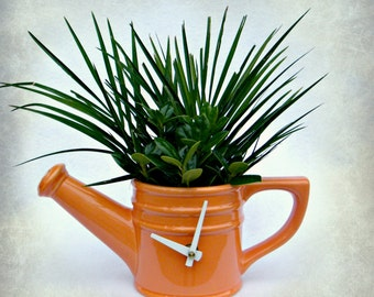 Orange Watering Can Kitchen Clock Upcycled Dishes Recycled Ceramic Watering Can Display Clock Garden Inspired Mantle Clock Modern Kitchen