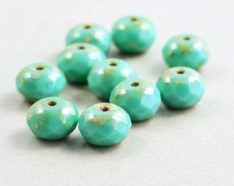 Aqua Beads, Czech Glass, 8mm Picasso Beads, Ten