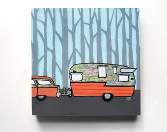 Shasta Camper mounted print - for the rv traveling through the southeast print mounted to wooden block
