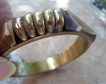 Vintage Brass and Wooden Bangle Bracelet