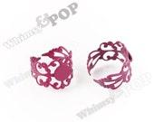 10 - Magenta Pink Filigree Ring Blanks, Rainbow Ring Blanks, Colorful Rings, Filligree RIngs, 8mm Glue Pad (R6-058)
