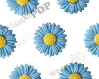 27mm - Large Matte Blue Daisy Sunflower Resin Cabochons, Daisy Cabochons, Flower Cabochons, Flower Cabs, Sunflower Cabochons (R6-038)