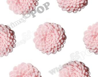 Large Pink Dahlia Cabochons, Large Chrysanthemums, Zinnia Cabochons, Flower Cabochons, Flower Cabs, 24mm (R7-037)