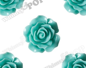 Large Detailed Mint Green Rose Deco Resin Cabochons, Flower Shaped, 20mm Rose Cabochons (R1-025)