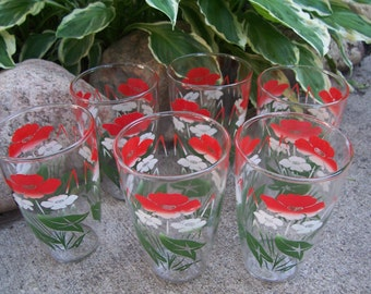 "Vintage Red and White ""Dainty"" Flower Pattern Glasses/Tumblers Set of Six"