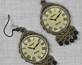 Victorian Steampunk Clock Face Dangle Earrings