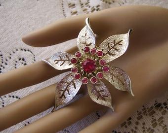 Large Vintage Silver Metal Hot Pink Rhinestone Flower Brooch Pin