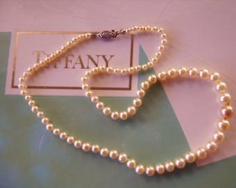 Vintage 10k White Gold 16 Inch Pearl Strand Necklace-Graduation Wedding Gift-Bride