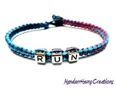 Run Hemp Bracelet, Purple and Blue Macrame Jewelry, Made to Order