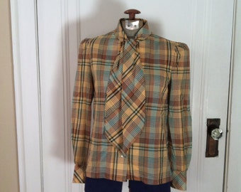 60s Plaid Cotton Blouse - long sleeve