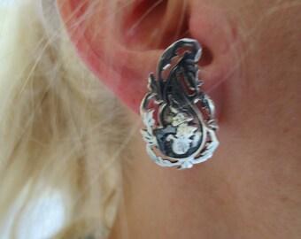 Vintage Sterling Silver Ornate Earrings