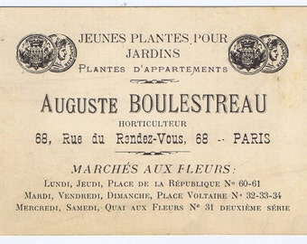 Antique French 19th century Business Card for a Paris Plant Nursery Paper Ephemera France Typography
