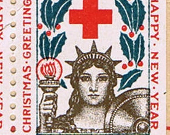 Red Cross Christmas Seals Stamps for 1918 Ten Rare Antique Vintage Decorative Paper Ephemera WWI