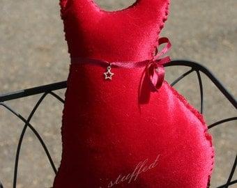 Cora - Hand-Made Stuffie Red Velvet Cat Kitty - Vintage Fabric - OOAK
