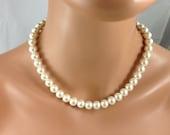 bridesmaids single strand pearl necklace-bridesmaid jewelry , wedding jewelry.-9