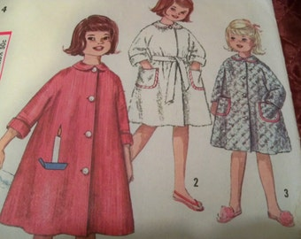 1960 Size 4 Simplicity 4536 Girls Robe Candle Transfer Simple to Make Sewing Pattern Supply Girl Robe Pattern Girls Sewing Pattern Mod 60s c
