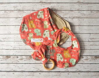 Newborn Burp Cloth and Bib Set Rust and Brown Puppy Dogs
