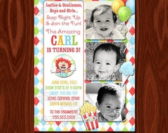 NEW Circus Carnival Theme Birthday Invitation PRINTABLE Digital File