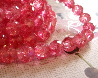 Faceted Glass Beads Pink Crackle 10mm Rounds Polished 16 inch Strand