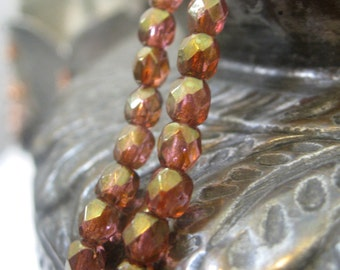Czech Glass Beads Pink and Topaz Luster Faceted Fire Polished Beads 4mm 50 pieces