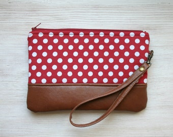 Red Polka dot Clutch Purse Retro Vegan Faux leather Wristlet Navy Vintage look