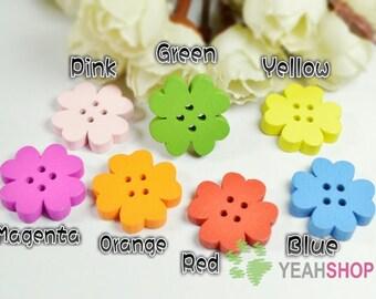 20mm Rainbow Color Wooden Floral Buttons - 20 PCS (WBT20-8)