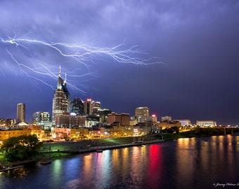 Fine art print of Nashville TN skyline with lightning.