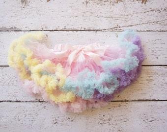 Pettiskirt - Tutu - baby pettiskirt - Girls Petticoat- Baby Easter- Rainbow Skirt - Pettiskirt - Easter- Newborn tutu - girls Pettiskirt