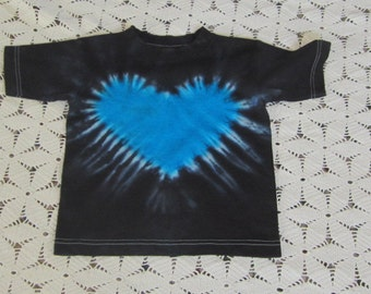 Tie dye Youth small, 4T shirts ready to ship today- turquoise blue heart with black -250
