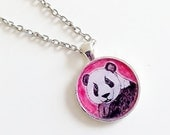 Panda Bear Necklace Pendant, Animal Art, Jewelry, Wearable Art