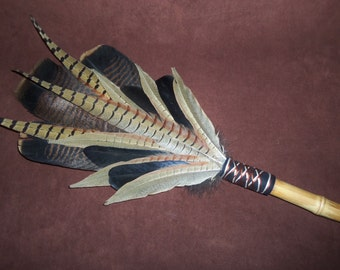 Smudge Fan- Earth Walk - Extra Large Sacred Prayer Fan with a Bamboo Handle - Made to Order