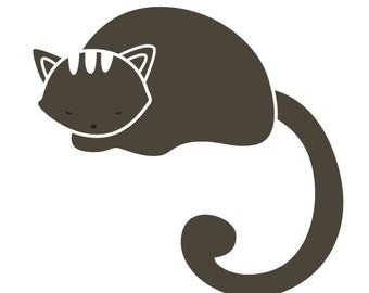 Napping Cat Stencil for Painting Kids or Baby Room Mural  (SKU313-istencil)